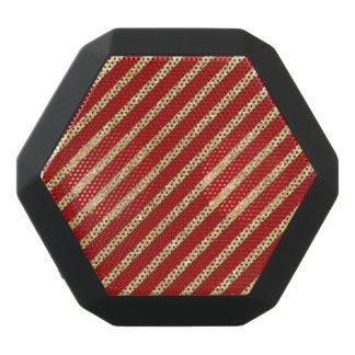 Red and Gold Glitter Diagonal Stripes Pattern Black Bluetooth Speaker