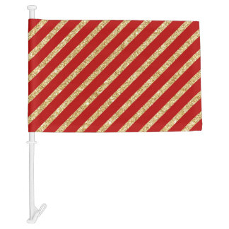 Red and Gold Glitter Diagonal Stripes Pattern Car Flag