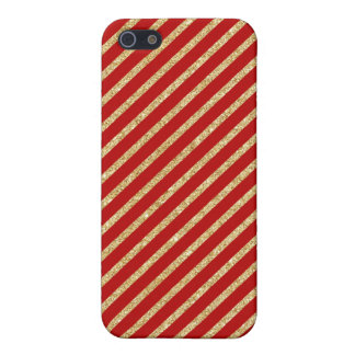 Red and Gold Glitter Diagonal Stripes Pattern Case For iPhone 5/5S
