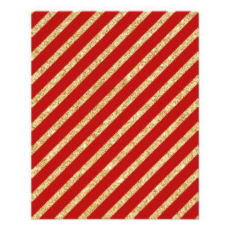 Red and Gold Glitter Diagonal Stripes Pattern Flyer