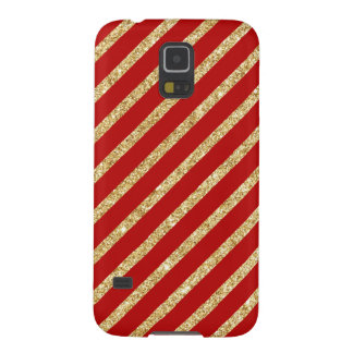 Red and Gold Glitter Diagonal Stripes Pattern Galaxy S5 Covers