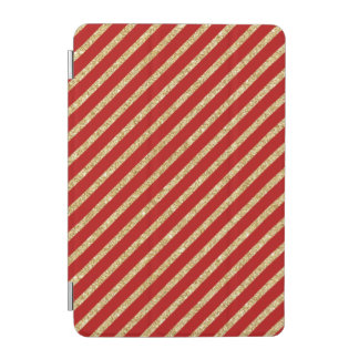 Red and Gold Glitter Diagonal Stripes Pattern iPad Mini Cover
