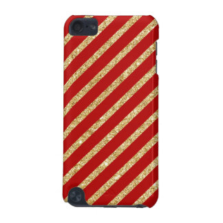 Red and Gold Glitter Diagonal Stripes Pattern iPod Touch (5th Generation) Case