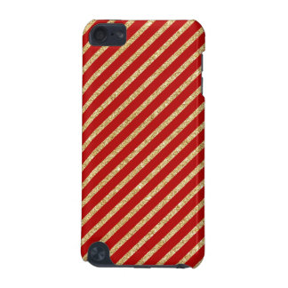 Red and Gold Glitter Diagonal Stripes Pattern iPod Touch (5th Generation) Cases