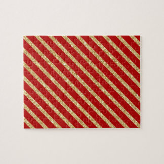 Red and Gold Glitter Diagonal Stripes Pattern Jigsaw Puzzle