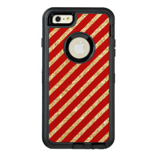 Red and Gold Glitter Diagonal Stripes Pattern OtterBox Defender iPhone Case