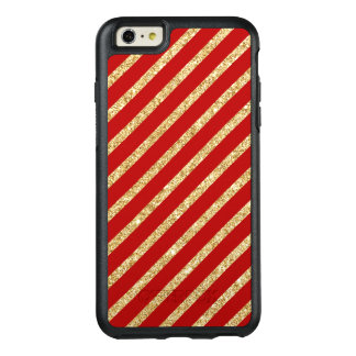 Red and Gold Glitter Diagonal Stripes Pattern OtterBox iPhone 6/6s Plus Case