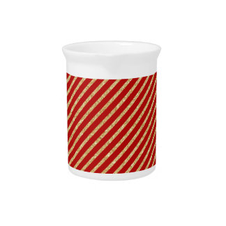 Red and Gold Glitter Diagonal Stripes Pattern Pitcher