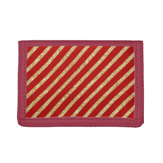 Red and Gold Glitter Diagonal Stripes Pattern Trifold Wallets