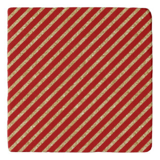 Red and Gold Glitter Diagonal Stripes Pattern Trivet