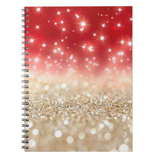 Red and Gold Glitter Notebook