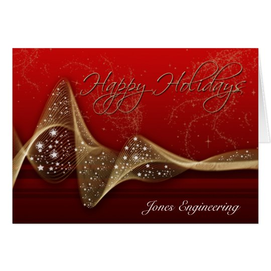 Red and Gold Glitter Ribbon Happy Holidays Card
