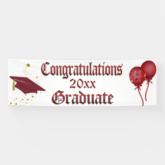 Red and Gold Graduation Banner