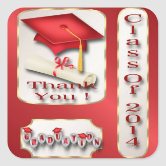 Red and Gold Graduation Thank You envelope seal Square Sticker