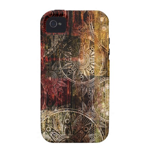 Red and Gold Grunge Swirl Design iPhone 4/4S Covers