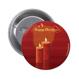 Red and Gold Happy Christmas Candles Pin