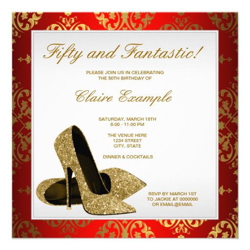 Red and Gold High Heels Womans 50th Birthday Personalized Invites