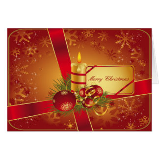 Red and Gold Holiday Candle Card