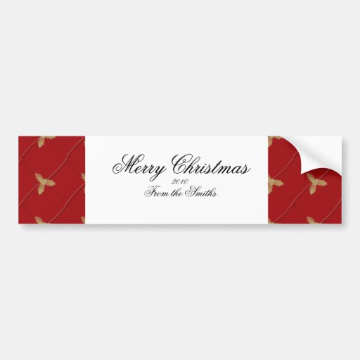 Red and Gold Holly Diamond Photo Logo Bumper Stickers