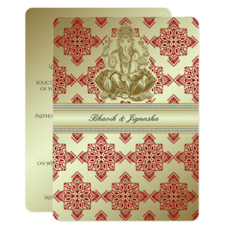Red and Gold Indian Damask Wedding Invitation