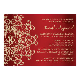 Red and Gold Indian Inspired Bridal Shower Card