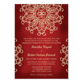 "RED AND GOLD INDIAN STYLE WEDDING INVITATION 5"" X 7"" INVITATION CARD"