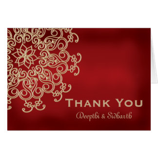 RED AND GOLD INDIAN STYLE WEDDING THANK YOU NOTE CARD