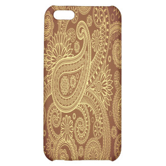 Red and Gold Intricate Damask Case For iPhone 5C