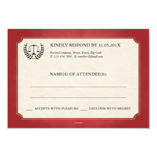 Red and Gold Law Firm/Law School Graduation RSVP 9 Cm X 13 Cm Invitation Card