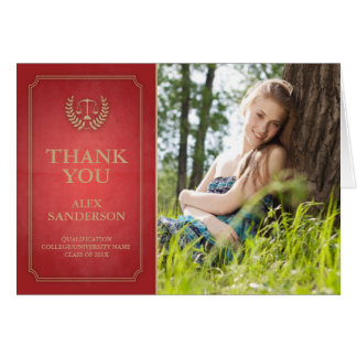 Red and Gold Legal/Law School Graduation Thank You Note Card