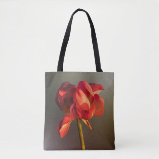 Red and gold lotus flower tote bag