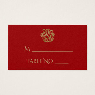 Red and Gold Mandala Indian Wedding Place Cards