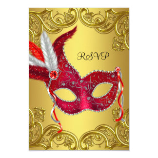 Red and Gold Masquerade Party RSVP Card
