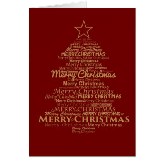 """Red and Gold """"Merry Christmas"""" Greeting Card"""