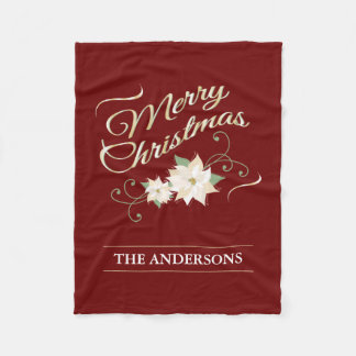 Red and Gold Merry Christmas White Poinsettia Fleece Blanket