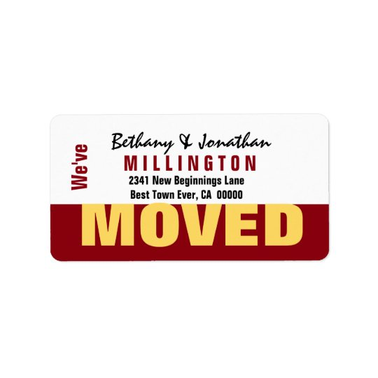 Red and Gold Modern Simple We've Moved V04 Label