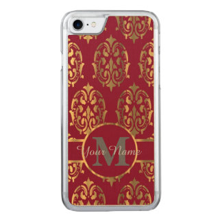 Red and gold monogrammed damask carved iPhone 7 case