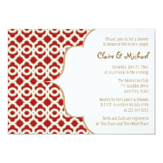 Red and Gold Moroccan Couples Wedding Shower Card