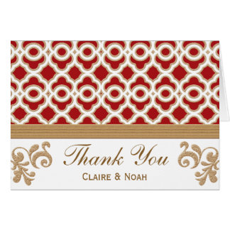 Red and Gold Moroccan Thank You Wedding Card