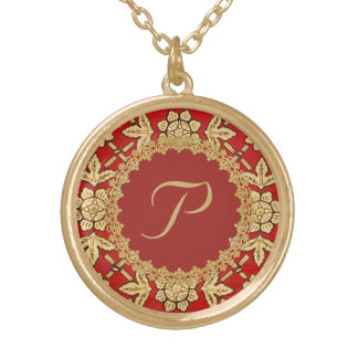 Red and Gold Ornate Gold Plated Necklace