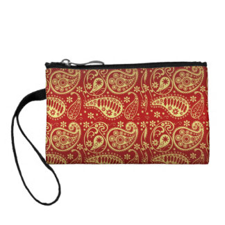 red and gold paisley mini clutch purse coin wallets