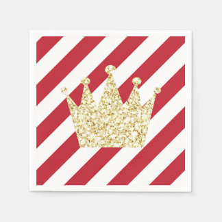 Red and Gold Prince Crown Napkins Paper Napkins