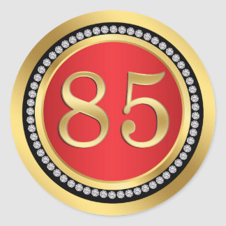 Red and gold, printed diamonds 85th Birthday Party Round Sticker