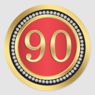 Red and gold, printed diamonds 90th Birthday Party Round Sticker