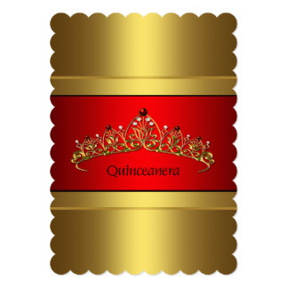 Red and Gold Quinceanera Gold Tiara Birthday Card