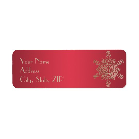 Red and Gold Snowflake Return Address Return Address Label