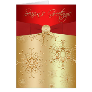 Red and Gold Snowflakes Season's Greetings Card Card