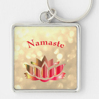 Red and Gold sparkle Namaste Lotus Flower Key Ring