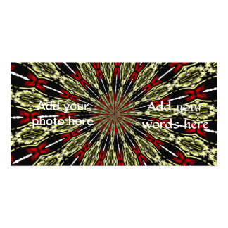 Red and Gold Stained Glass Window Kaleidoscope Customised Photo Card