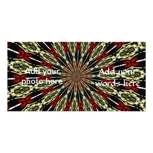 Red and Gold Stained Glass Window Kaleidoscope Photo Card Template
